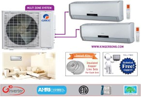 Gree Dual Zone GWHD18ND3CO GWH09ABD3DNA2DI (TWO) SEER 16 Ductless System