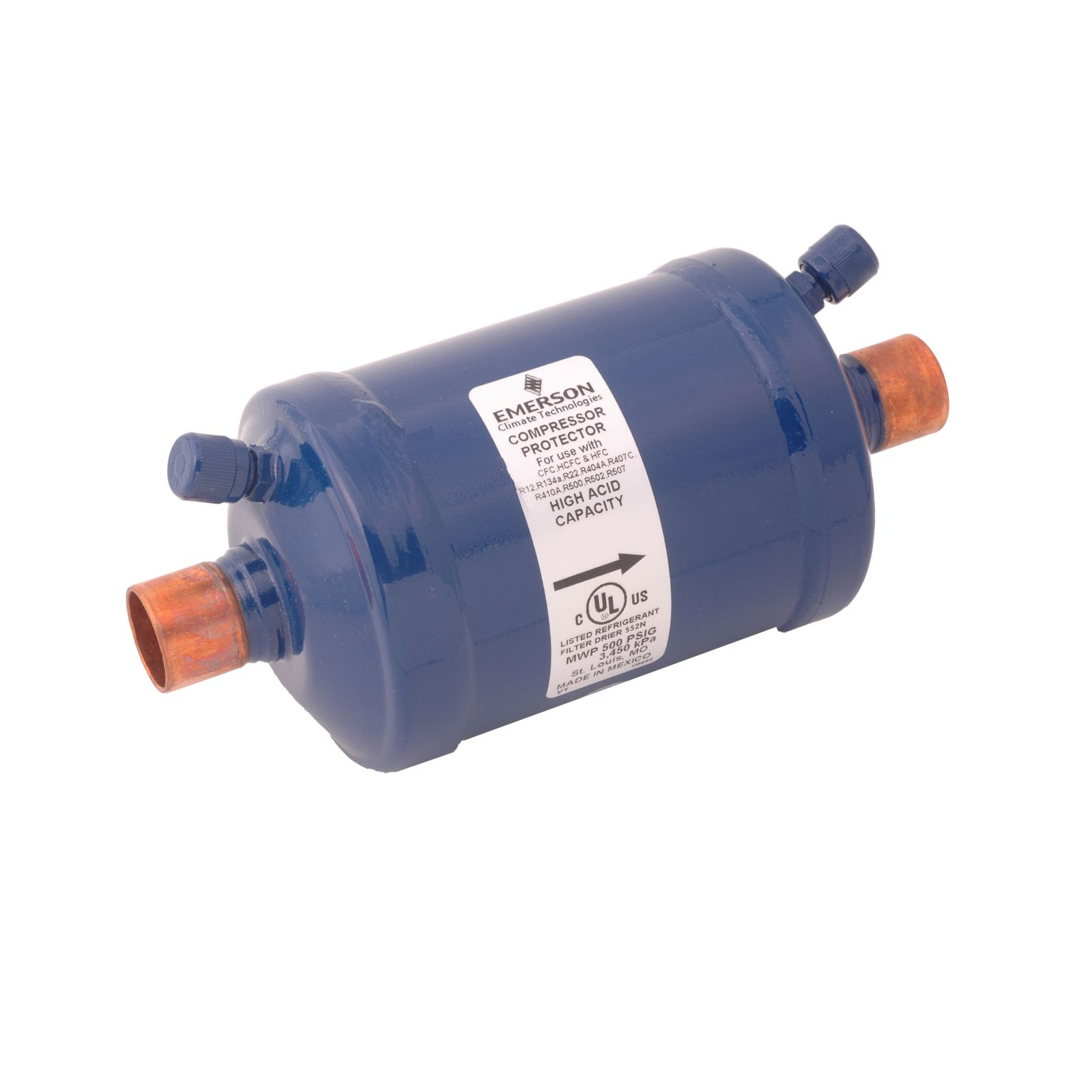 "Emerson 049171 - ASD35S5W Premium Dual Access Suction Line Filter Drier, 35 Cubic Inch, 5/8"" ODF Connection"