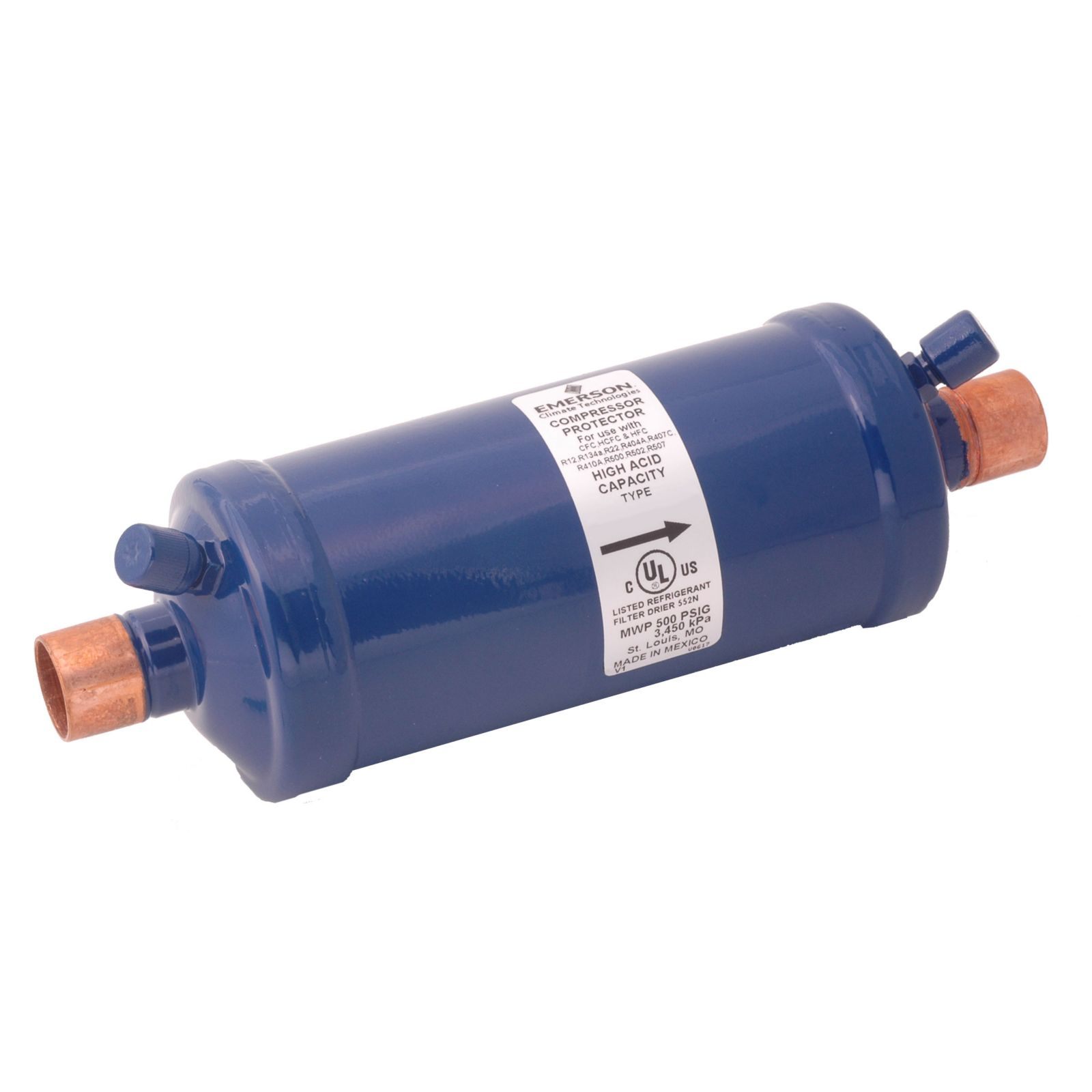 "Emerson 056510 - ASK167Swhh Dual Access Suction Line Filter Drier, 16 Cubic Inch, 7/8"" ODF Connection"