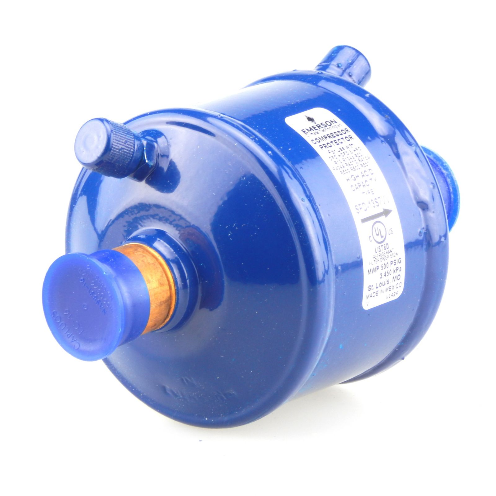 "Emerson 060262 - SFD13S7W Dual Access Suction Line Filter Drier, 13 Cubic Inch, 7/8"" ODF Connection"