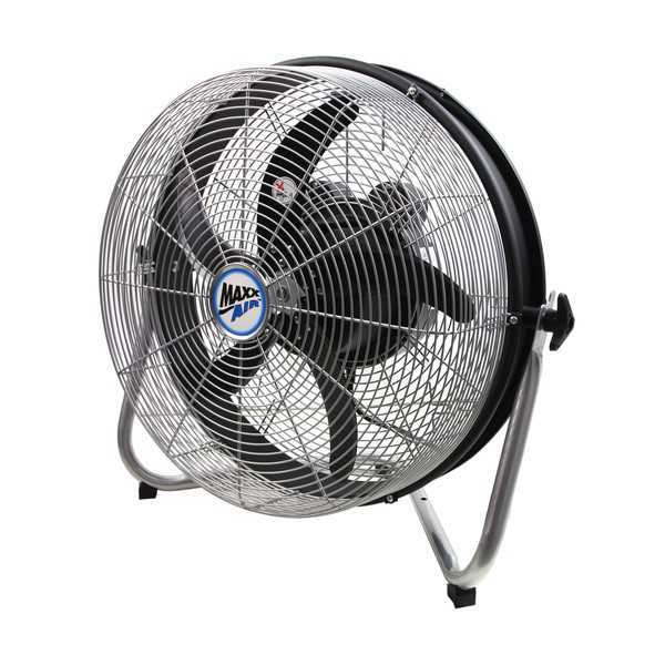 Maxx Air Silver Metal 18-inch Floor Fan With Internal Oscillation