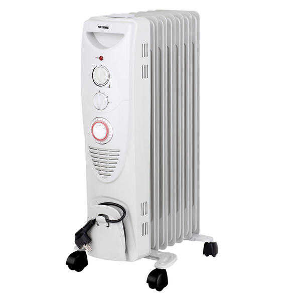 Optimus 97098101M Portable 7 Fins Oil Filled Radiator Heater with Timer