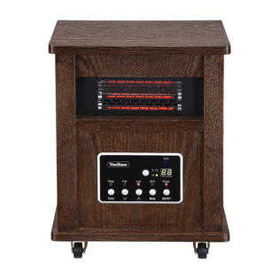 VonHaus 4 Element Infrared Fan Heater with Remote Control, Digital Display & Timer - Wood Electric Portable Indoor Space Heater