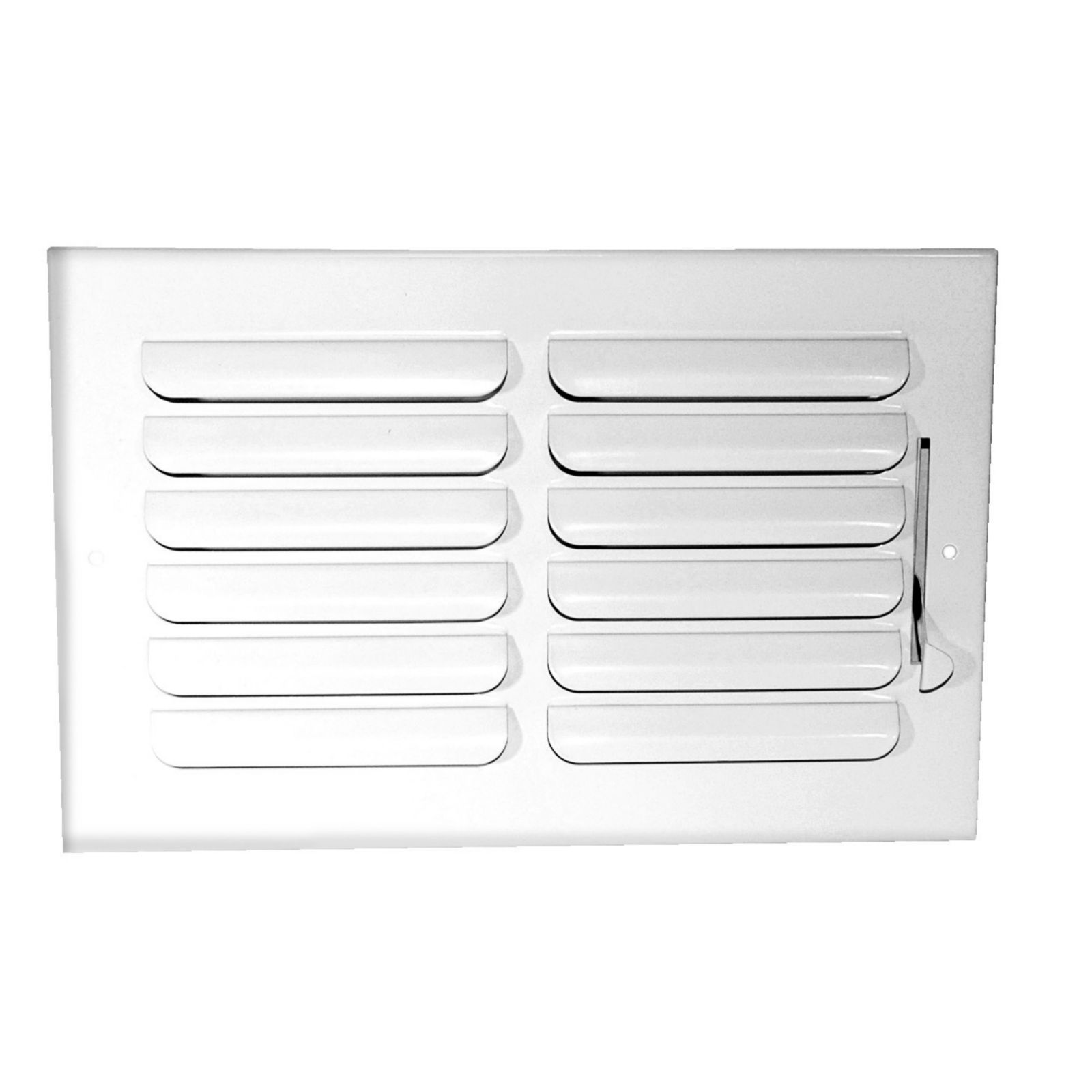 "Grille Tech CB1W12X6 - Stamped Steel Ceiling Air Register Curved Blade 1-Way 12"" X 6"" White"