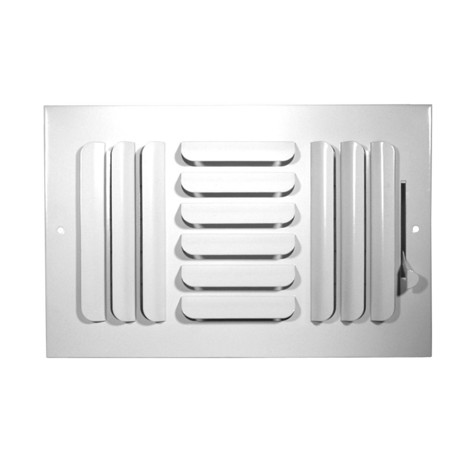 "Grille Tech CB3W10X6 - Stamped Steel Ceiling Air Register Curved Blade 3-Way 10"" X 6"" White"
