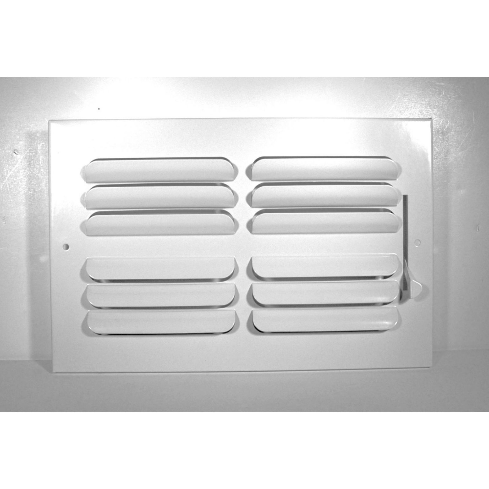"Grille Tech CB4W12X12 - Stamped Steel Ceiling Air Register Curved Blade 4-Way 12"" X 12"" White"