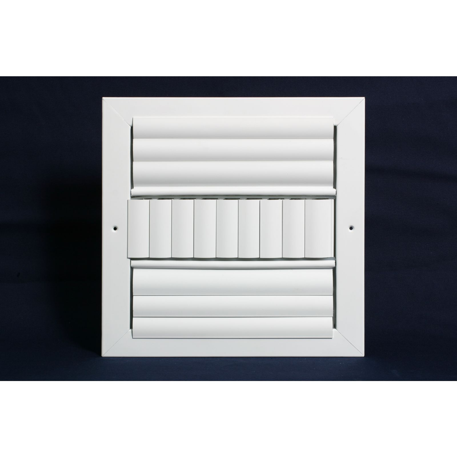 "Grille Tech CL3M1010 - Aluminum Ceiling 3Way Deflection Supply, Multi-shutter 10"" X 10"" White"