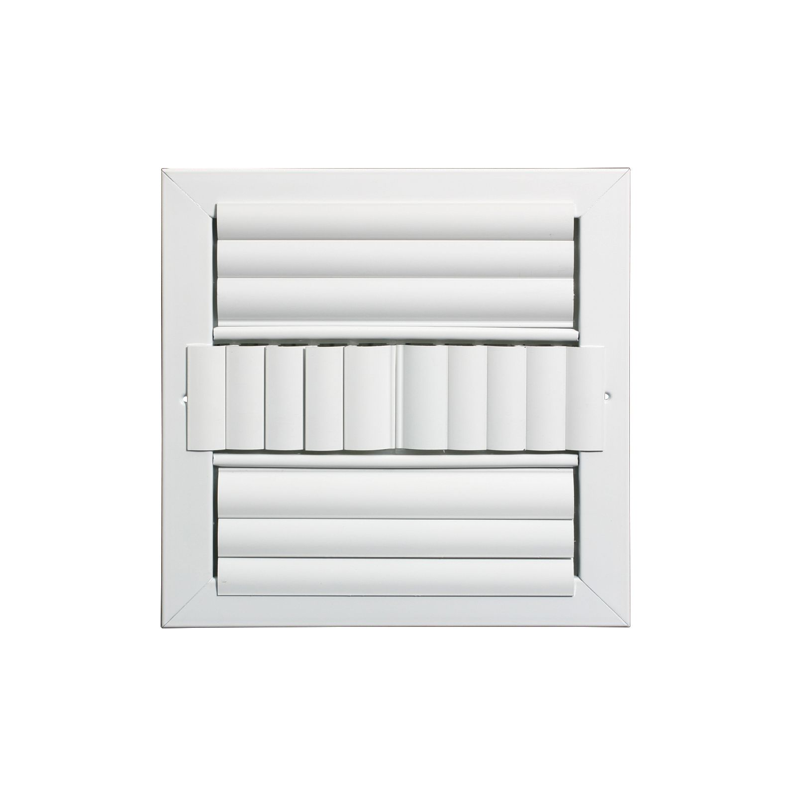 "Grille Tech CL4M1010 - Aluminum Ceiling 4Way Deflection Supply, Multi-shutter 10"" X 10"" White"