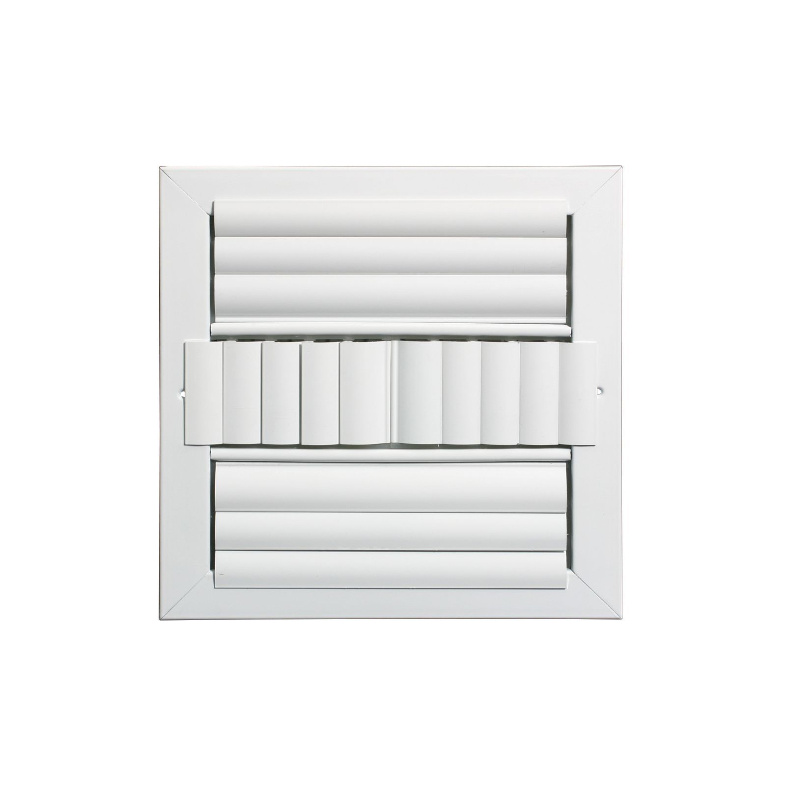 "Grille Tech CL4M1414 - Aluminum Ceiling 4Way Deflection Supply, Multi-shutter 14"" X 14"" White"