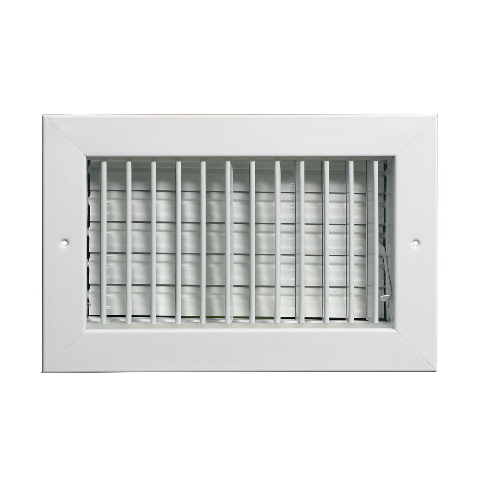 "Grille Tech VM0804 - Aluminum Vertical Blade Sidewall Register , Multi-Shutter Damper 8"" X 4"" White"